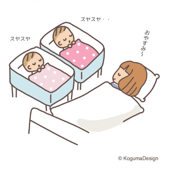 母子同室の夜 双子の母子同室