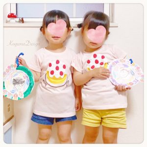 紙皿工作 似顔絵 保育製作 双子